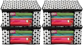 Kuber Industries Polka Dots Design 4 pc Non Woven Fabric Saree Cover/ Clothes Organiser For Wardrobe Set with Transparent Window;Extra Large;(Black & White) - CTHH17470