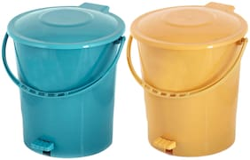 Kuber Industries 2 pcs Plastic Dustbin Garbage Bin with Handle;10 L (Yellow & Green) - CTHH16380