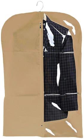 Kuber Industries Half Transparent Non Woven Men's Coat Blazer Cover (Brown) - CTHH14664