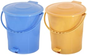 Kuber Industries 2 pcs Plastic Dustbin Garbage Bin with Handle;10 L (Yellow & Blue) - CTHH16377