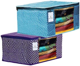 Kuber Industries Polka Dots 2 pcs Cotton 3 Layered Quilted Saree Cover (Purple & Sky Blue) - CTHH14831