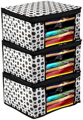 Kuber Industries Polka Dots Design 3 pc Non Woven Fabric Saree Cover/ Clothes Organiser For Wardrobe Set with Transparent Window;Extra Large;(Black & White) - CTHH17476