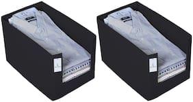 Kuber Industries 2 Piece Non Woven Shirt Stacker Wardrobe Organizer Set;Black-CTLTC31831 CTHH22539