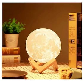 k kudos enterprise 3D Moon Lamp Color Changing Touch Sensor Crystal Ball Night Lamp with Wooden Stand, Bedroom Lamp, Night Lamp for Bedroom(15 cm)