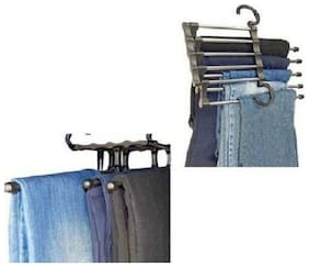 kudos 5 in 1 StaInless Steel Shirt Trousers Pants Denim Jeans Scarf Coat Hanger Hook Clothes Rack Organizer