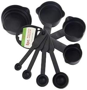 kudos 8 pcs Measuring Cups & Spoons Set for Cooking & Baking (Black)