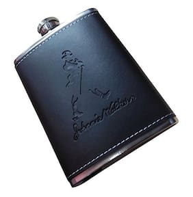 kudos Black Stainless Steel Hip Flask Leather Pocket Bottle (9 oz)