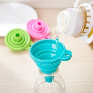 K Kudos Enterprise Small Collapsible Silicone Heat Resistant Funnel for Liquids (Assorted Color) (Pack of 2)