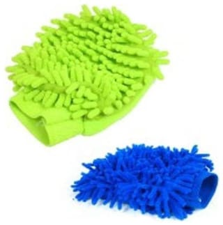 Kudos Set Of 2 Car Cleaning Micro Fibre Hand Glove (Multicolor)