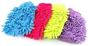 Kudos Set Of 4 Car Cleaning Micro Fibre Hand Glove (Multicolor)