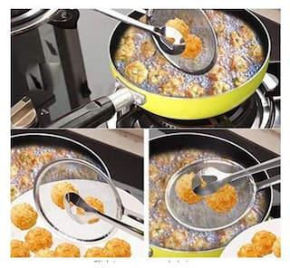 k kudos enterprise Stainless Steel 2 in Multi Functional Deep Fried Clip/Tong/Strainer/Stir Frying Pan Tool/Kitchen Oil Food Serving Spoon