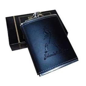 Kudos Stainless Steel And Stitched Leather Hip Flask 226.79 g (8 Oz)