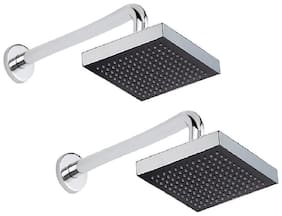 Kurvz 8x8 Square Rain Shower Head with 38.1 cm (15 inch) Round Arm -Pack of 2
