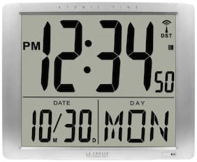 La Crosse Technology Digital Atomic Wall Clock Date Display Large Non-Ticking