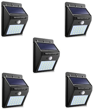 La Mod 20 LED Solar Powered LED light Outdoor Wall LED Solar lamp With PIR Motion Sensor Night Security Bulb Street Yard Path Garden lamp (Wall Mounted Pack of 5)