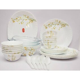La Opala Diva 35 Pcs Citron Weave Dinner Set