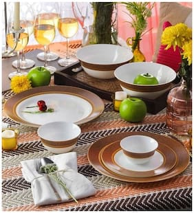 La Opala Glass Dinner Sets - Set of 27 , White
