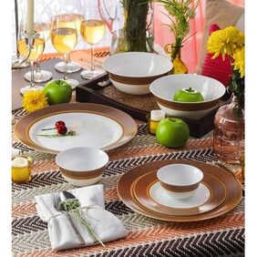 La Opala Sovrana 33 Pcs Empress Brown Dinner Set