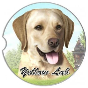 Labrador Yellow  Set Of Two Absorbent Stoneware Car Cup Holder Coaster Dog Puppy