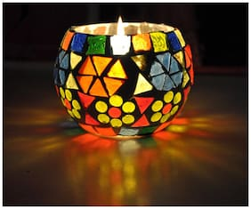 Lal Haveli Glass Multi Candle holder