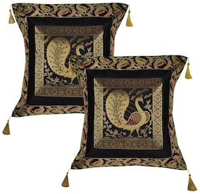 Lal Haveli Ethnic Designer Silk Fabric Black Color Cushion Covers 18 x 18 Inch Set of 2 Pcs