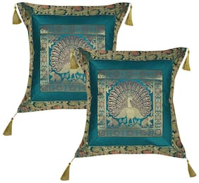 Lal Haveli Printed Silk Green Cushion Cover ( Regular , Pack of 2 )