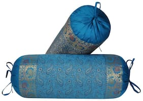 Lal Haveli Paisley Silk Turquoise Cushion Cover ( Regular , Pack of 2 )