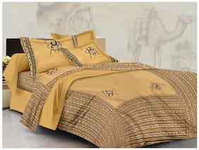 Lali Prints Cotton Printed King Size Bedsheet ( 1 Bedsheet With 2 Pillow Covers , Beige )