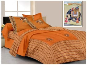 Lali Prints Cotton Printed King Size Bedsheet ( 1 Bedsheet With 2 Pillow Covers , Orange )