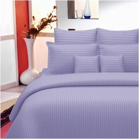 Lali Prints Cotton Solid King Size Bedsheet 220 TC ( 1 Bedsheet With 2 Pillow Covers , Purple )