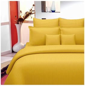 Lali Prints Cotton Striped King Size Bedsheet 220 TC ( 1 Bedsheet With 2 Pillow Covers , Yellow )