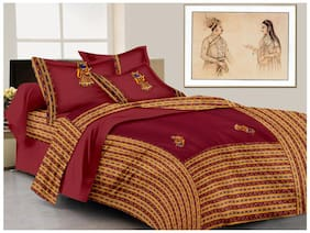 Lali Prints Cotton Printed King Size Bedsheet ( 1 Bedsheet With 2 Pillow Covers , Maroon )