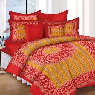 Lali Prints Cotton Rajasthani Jaipuri Print King Size Bedsheet 185 TC ( 1 Bedsheet With 2 Pillow Covers , Red )