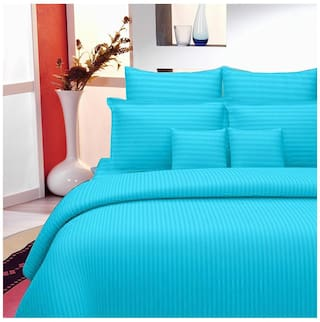 Lali Prints Cotton Striped King Size Bedsheet 220 TC ( 1 Bedsheet With 2 Pillow Covers , Blue )