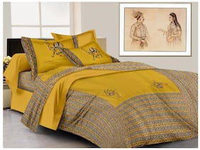 Lali Prints Cotton Printed King Size Bedsheet ( 1 Bedsheet With 2 Pillow Covers , Multi )