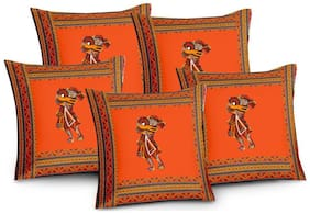 Lali Prints Patch work Rajasthani Ethnic Prints Cushion Cover Set of 5