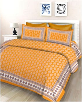Lali Prints Cotton Floral Double Size Bedsheet 140 TC ( 1 Bedsheet With 2 Pillow Covers , Yellow )