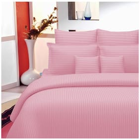 Lali Prints Cotton Striped King Size Bedsheet 220 TC ( 1 Bedsheet With 2 Pillow Covers , Pink )