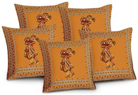 Lali Prints Patch work  Embroidery Jaipuri Print Cushion Cover Set of 5