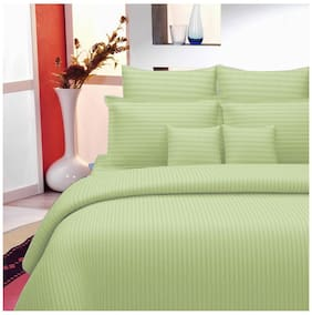 Lali Prints Cotton Striped King Size Bedsheet 220 TC ( 1 Bedsheet With 2 Pillow Covers , Green )
