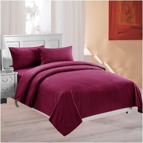 Lali Prints Cotton Solid King Size Bedsheet 220 TC ( 1 Bedsheet With 2 Pillow Covers , Maroon )