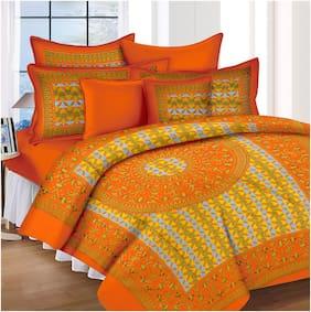 Lali Prints Cotton Rajasthani Jaipuri Print King Size Bedsheet 185 TC ( 1 Bedsheet With 2 Pillow Covers , Orange )