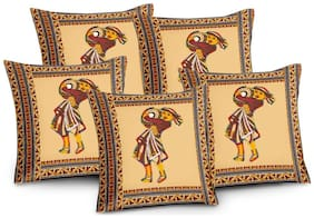 Lali Prints Patch work Light  Embroidery Ethical Print Cushion Cover Set of 5