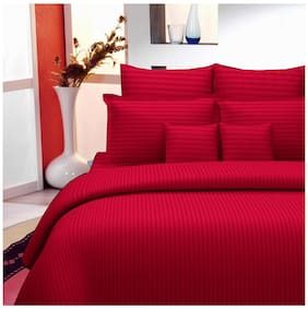 Lali Prints Cotton Striped King Size Bedsheet 220 TC ( 1 Bedsheet With 2 Pillow Covers , Red )