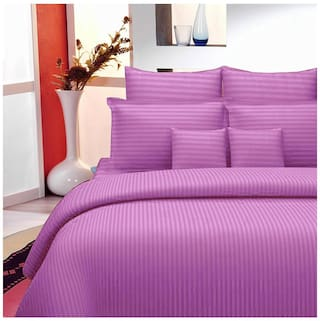 Lali Prints Cotton Striped King Size Bedsheet 220 TC ( 1 Bedsheet With 2 Pillow Covers , Purple )