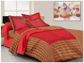 Lali Prints Cotton Printed King Size Bedsheet ( 1 Bedsheet With 2 Pillow Covers , Red )