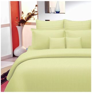 Lali Prints Cotton Striped King Size Bedsheet 220 TC ( 1 Bedsheet With 2 Pillow Covers , Multi )