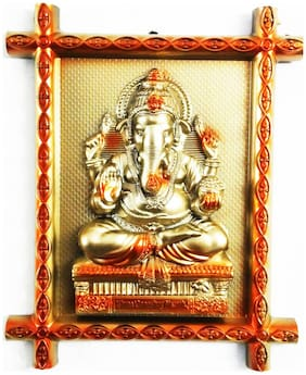 Laps of Luxury - Ganesha God Idol Golden and Orange metal look wall hanging Photo Frame(30.48 cm (12 inch)x25.4 cm (10 inch))