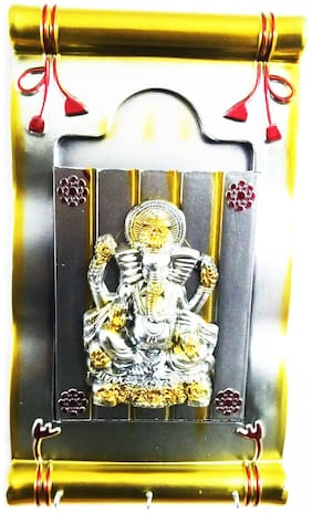 Laps of Luxury - Ganesha God Idol wall hanging Photo Frame in Silver and Yellow colour finish with a pocket and 3 key chain hanging(35.56 cm (14 inch) x 21.59 cm (8.5 inch))