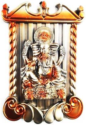 Laps of Luxury - Ganesha God Idol Golden and Orange wall hanging Photo Frame(25.4 cm (10 inch)x17.78 cm (7 inch))